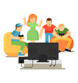 emotional young people playing in video game vector image