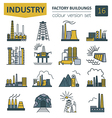 Factory buildings icon set Colour version design vector image vector image