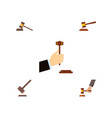flat icon hammer set of hammer crime tribunal vector image vector image