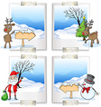Four picture frames with christmas theme vector image vector image