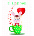 greeting card with cartoon rabbit in hat with ear vector image
