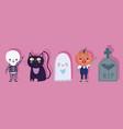 happy halloween ghost cat tombstone skeleton vector image vector image