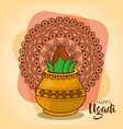 happy ugadi card template with pot coconut mandala vector image