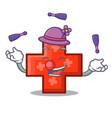 juggling cross mascot cartoon style vector image