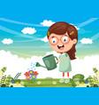 kid watering flowers vector image vector image