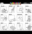 main colors educational worksheet for coloring vector image vector image