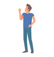 man in jeans and blue t-shirt vector image