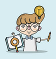 man with bulb idea and notebook with magnifying vector image
