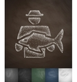 man with fish icon Hand drawn vector image