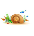 marine underwater world of fish starfish snail vector image