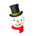 merry christmas snowman head in top hat vector image