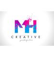 mh m h letter logo with shattered broken blue vector image vector image