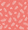 pink leaves and sprigs on coral dots seamless vector image vector image