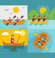 rafting kayak canoe banner concept set flat style vector image