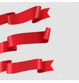 red ribbon big set isolated transparent background vector image vector image
