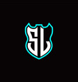 s l initial logo design with shield shape vector image vector image