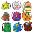 school backpack isolated set on white background vector image