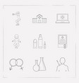 set of anatomical icons line style symbols with vector image