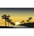 Silhouette of river and palm tree vector image vector image