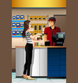 woman paying the cashier at the store vector image