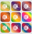 Yarn ball icon sign Nine buttons with bright vector image vector image