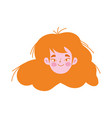 young woman face cartoon character female icon vector image vector image