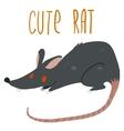 cartoon cute black rat icon vector image