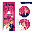wedding card and stickers vector image