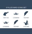 6 bird icons vector image vector image