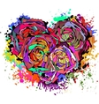 abstract colorful heart roses vector image vector image