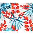 abstract pattern with palm leaves and rose vector image vector image