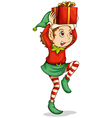An elf with a gift above his head vector image vector image