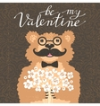 be my valentine hipster bear with a bouquet of vector image