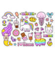 big stickers pack set of cute cartoon characters vector image vector image
