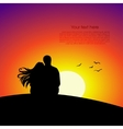 black couple silhouettes in front sunset vector image
