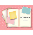 blank notebook or diary memo notepad paper and vector image