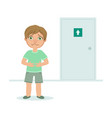 boy with full bladder wanting to pee kid standing vector image