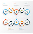 business icons colored line set with introducing vector image vector image