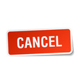 cancel red square sticker isolated on white vector image vector image