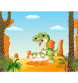 Cartoon mom tyrannosaurus dinosaur and baby vector image vector image