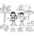 cheerful kids on beach rest vector image vector image