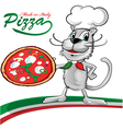 chef cat cartoon with pizza vector image vector image