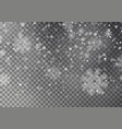 christmas falling snow isolated on dark bac vector image vector image