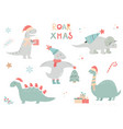 christmas set with festive dinos cute characters vector image