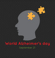 creative poster or banner of world alzheimers day vector image vector image