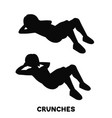 crunches sport exersice silhouettes of woman vector image