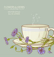 cup of cornflower tea vector image vector image