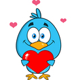 Cute Bird Holding a Love Heart Cartoon vector image