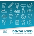 dental outline icons vector image
