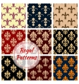 Fleur-de-lys french royal seamless pattern set vector image vector image